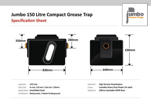 Jumbo 150 Litre Compact Grease Trap